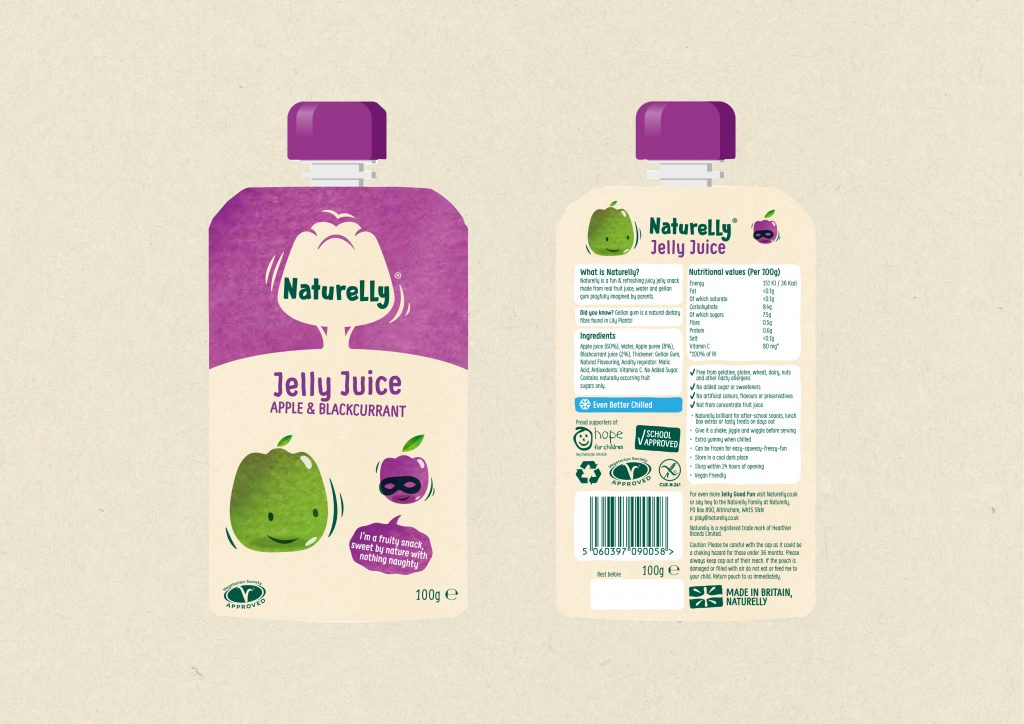 Naturelly Jelly Juice Apple and Blackcurrant a healthy snack for kids